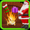 Santa Filling Christmas Stockings Image